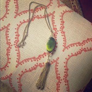 Lia Sophia green cabochon necklace